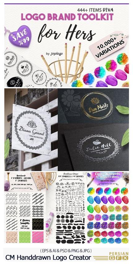 دانلود مجموعه عناصر طراحی وکتور ساخت لوگو، تکسچر، فریم، اشکال انتزاعی و ... - CM Diva Handdrawn Logo Creator
