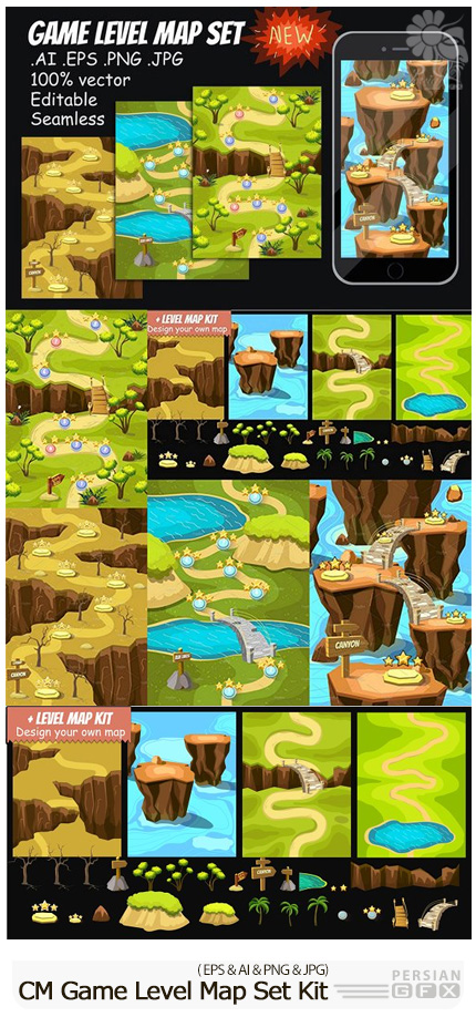 دانلود کیت طراحی رابط کاربری بازی کامپیوتری - CM Game Level Map Set Kit
