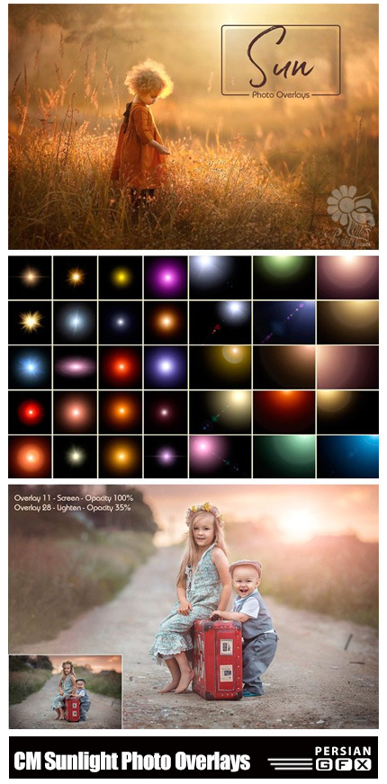 دانلود تصاویر کلیپ آرت افکت های انتشار نور - CM Sunlight Photo Overlays