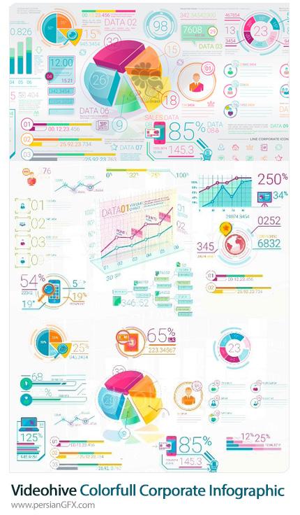 دانلود مجموعه عناصر نمودارهای اینفوگرافیکی ویدئویی برای ساخت تیزر تجاری از ویدئوهایو - Videohive Colorfull Corporate Infographic Elements