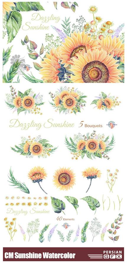 دانلود کلیپ آرت عناصر آبرنگی گل آفتابگردان برای طراحی کارت پستال - CM Dazzling Sunshine Watercolor Clipart