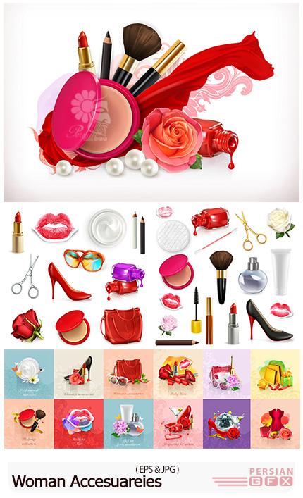 دانلود تصاویر وکتور لوازم جانبی زنانه، لوازم آرایشی، کیف و کفش، عطر و ... - Woman Accesuareies Stock Vectors