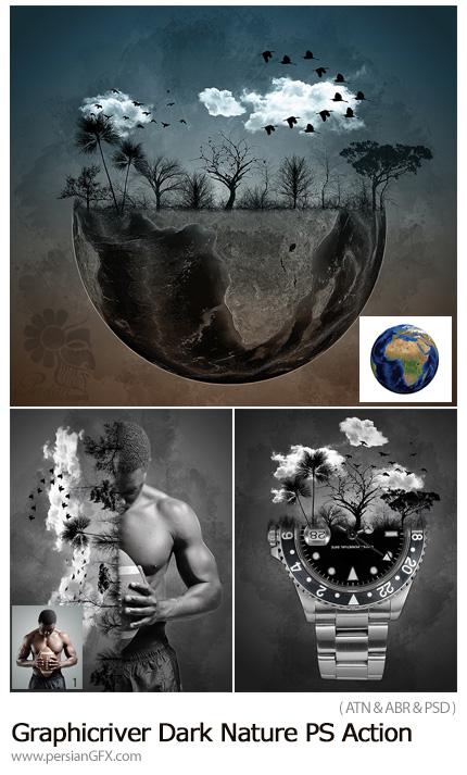 دانلود اکشن فتوشاپ ساخت تصاویر ترکیبی سیاه و سفید با عناصر طبیعت به همراه آموزش ویدئویی از گرافیک ریور - Graphicriver Dark Nature Photoshop Action