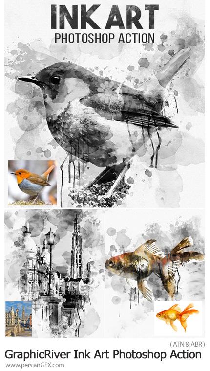 دانلود اکشن فتوشاپ ساخت تصاویر هنری با افکت لکه های جوهر به همراه آموزش ویدئویی از گرافیک ریور - GraphicRiver Ink Art Photoshop Action