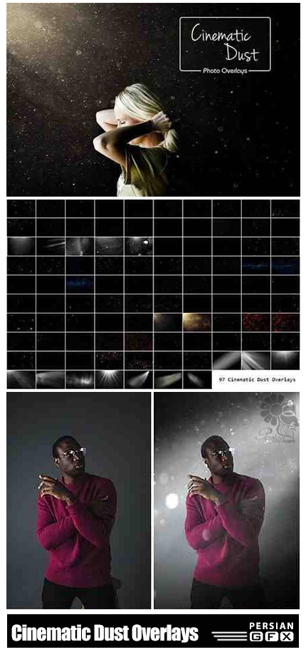 دانلود 97 تصویر کلیپ آرت گرد و غبار درخشان سینمایی - 97 Cinematic Dust Overlays