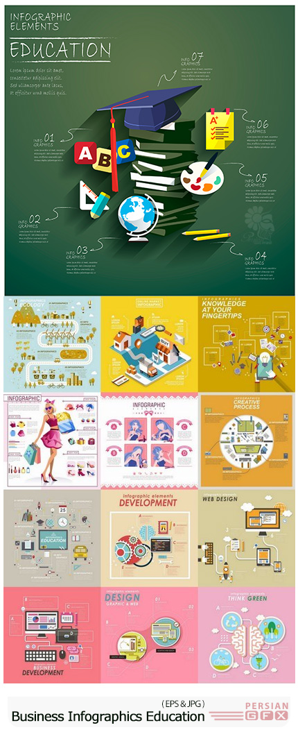 دانلود مجموعه تصاویر وکتور نمودارهای اینفوگرافیکی تجاری و آموزشی - Business Infographics Education Web Design Element Icon