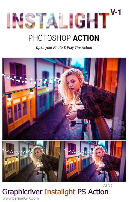 دانلود اکشن فتوشاپ ایجاد افکت نورهای ویژه برای تصاویر اینستاگرام از گرافیک ریور - Graphicriver Instalight Photoshop Action