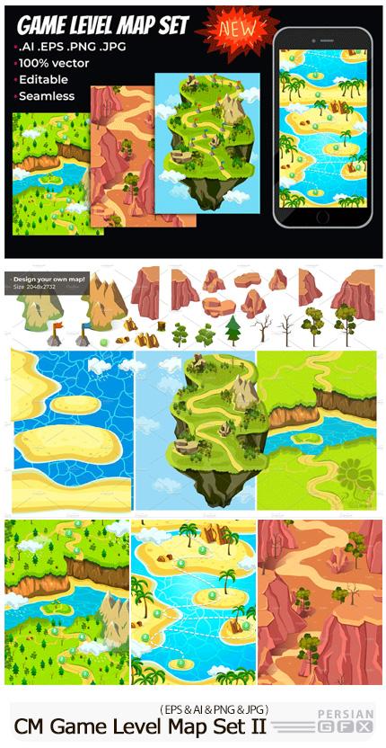 دانلود مجموعه المان های کارتونی وکتور برای طراحی بازی - CM Game Level Map Concept Set II