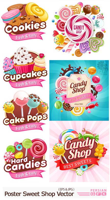 دانلود مجموعه تصاویر وکتور پوستر شیرینی و شکلات های رنگارنگ - Candies Vector Poster Sweet Shop