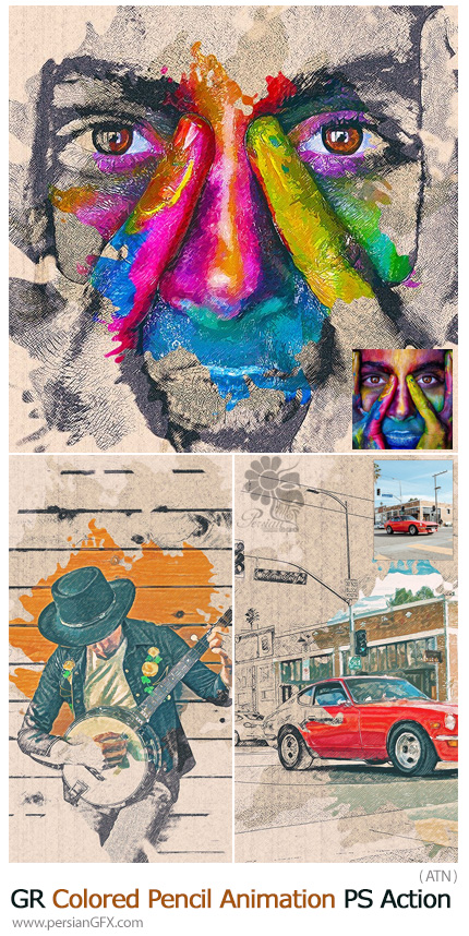 دانلود اکشن فتوشاپ تبدیل تصاویر به نقاشی متحرک با مداد به همراه آموزش ویدئویی از گرافیک ریور - GraphicRiver Colored Pencil Animation Photoshop Action