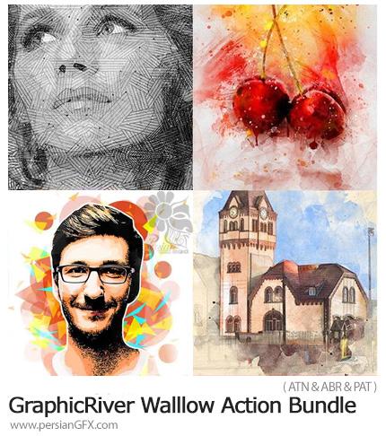 دانلود مجموعه اکشن فتوشاپ با 4 افکت متنوع از گرافیک ریور - GraphicRiver Walllow Action Bundle
