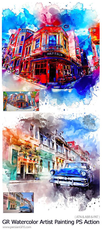 دانلود اکشن فتوشاپ تبدیل تصاویر به نقاشی آبرنگی هنری از گرافیک ریور - GraphicRiver Watercolor Artist Painting Photoshop Action
