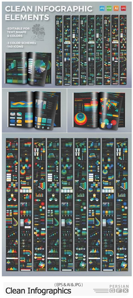 دانلود وکتور نمودارهای اینفوگرافیکی متنوع - Clean Infographics