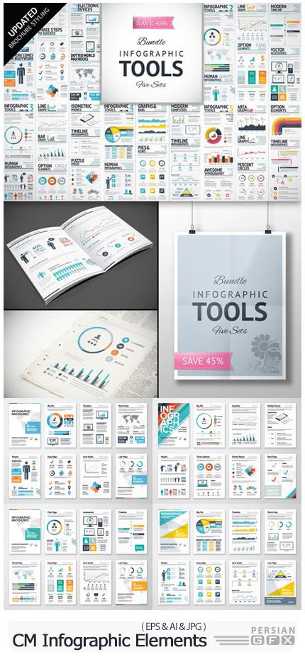 دانلود مجموعه عناصر طراحی نمودارهای اینفوگرافیکی متنوع - CM Infographic Elements Bundle