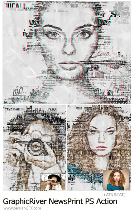 دانلود اکشن فتوشاپ ایجاد افکت روزنامه بر روی تصاویر از گرافیک ریور - GraphicRiver NewsPrint Photoshop Action