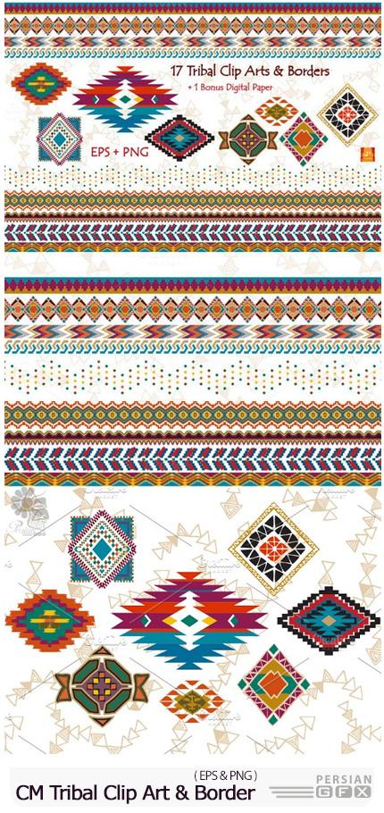 دانلود حاشیه و بت و جقه سنتی متنوع - CM Tribal Clip Art And Border