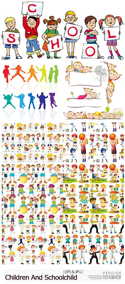 دانلود تصاویر وکتور کاراکترهای کارتونی کودکان - Seamless Children And Schoolchild