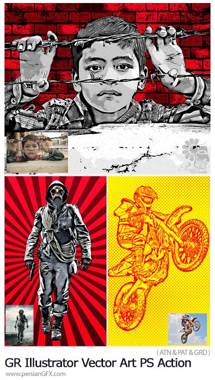 دانلود اکشن فتوشاپ ساخت تصاویر هنری وکتور به همراه آموزش ویدئویی از گرافیک ریور - GraphicRiver Illustrator Vector Art Photoshop Action
