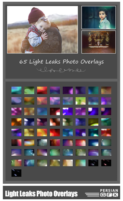 دانلود 65 کلیپ آرت افکت های انتشار نور - 65 Light Leaks Photo Overlays