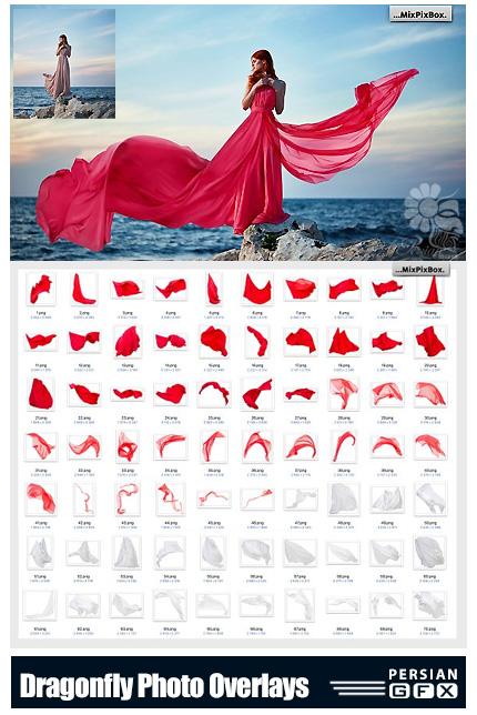 دانلود 70 کلیپ آرت پارچه های در حال پرواز به همراه آموزش ویدئویی - Flying Fabric Overlays