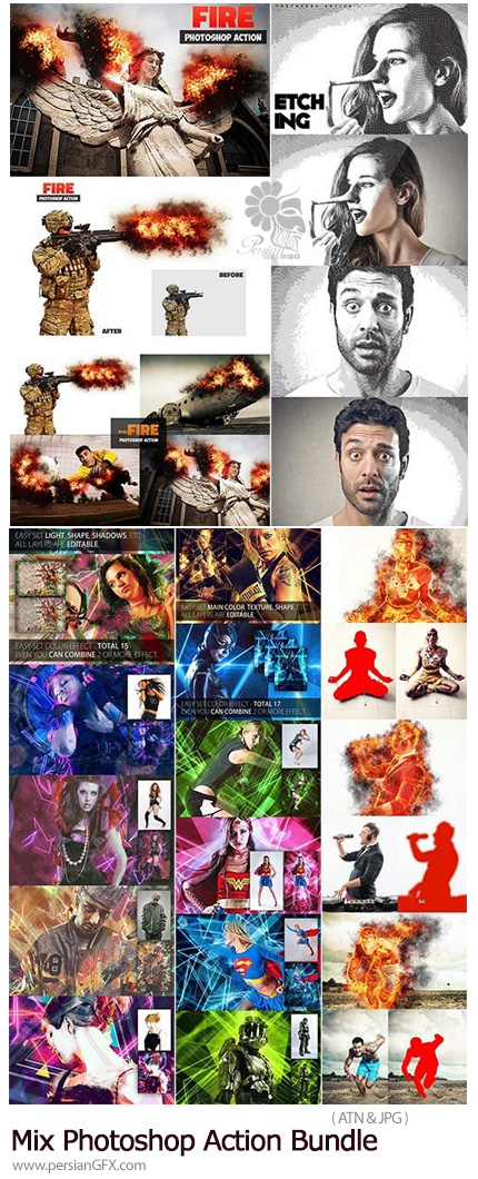 دانلود مجموعه اکشن فتوشاپ با افکت های متنوع - Mix Photoshop Action Bundle