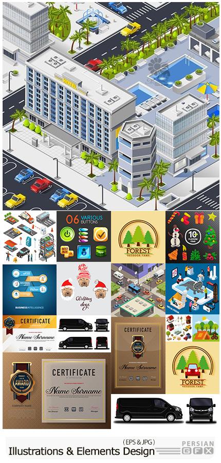 دانلود مجموعه طرح های آماده و عناصر طراحی وکتور متنوع - Modern Big Collection Illustrations And Elements Design 02