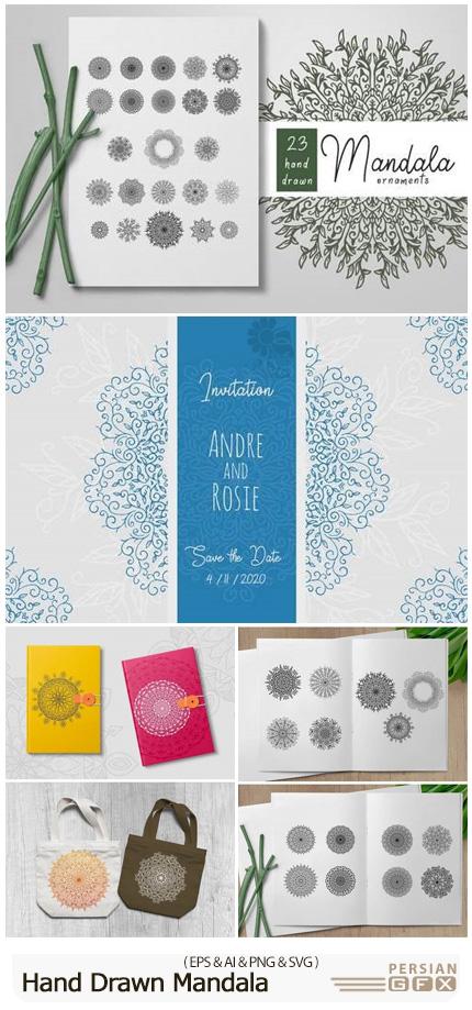 دانلود وکتور طرح های تزئینی ماندالا - DesignBundles Hand Drawn Mandala Ornaments