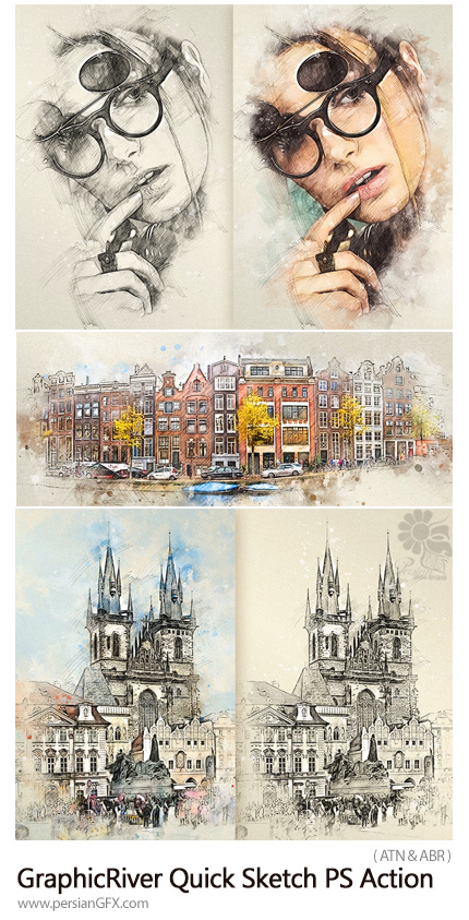 دانلود اکشن فتوشاپ تبدیل تصاویر به نقاشی با مداد به همراه آموزش ویدئویی از گرافیک ریور - GraphicRiver Quick Sketch Photoshop Action