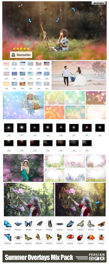 دانلود مجموعه کلیپ آرت عناصر تزئینی تابستانی - Summer Overlays Mix Pack