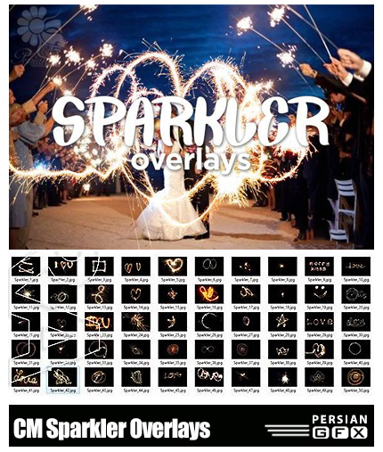 دانلود کلیپ آرت جرقه های درخشان - CM Sparkler Overlays