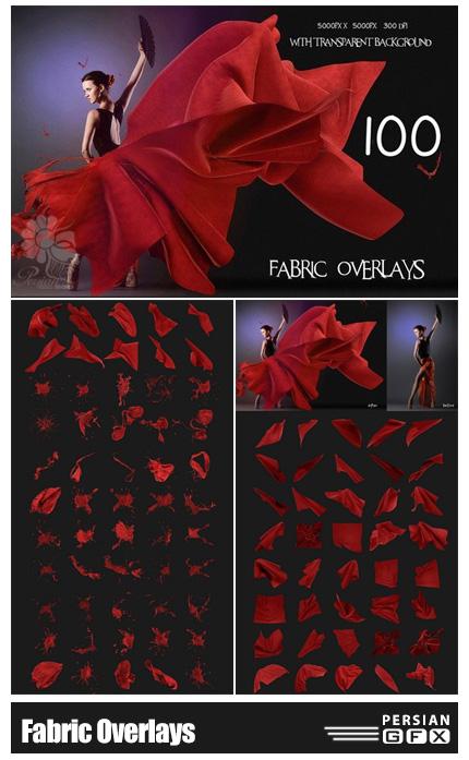 دانلود کلیپ آرت پارچه های در حال پرواز و مایعات پاشیده شده - Fabric Overlays With Transparent Background