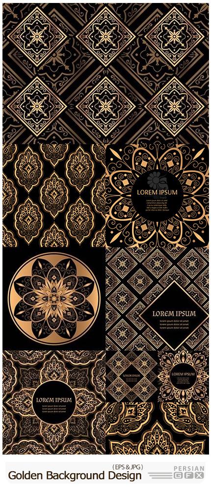 دانلود بک گراند های وکتور گلدار طلایی - Golden Luxury Damask Background Design Invitation