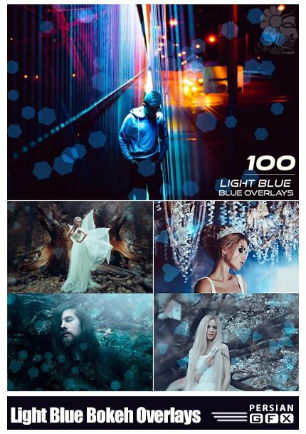 دانلود 100 کلیپ آرت بوکه های هندسی آبی رنگ - 100 Light Blue Bokeh Overlays