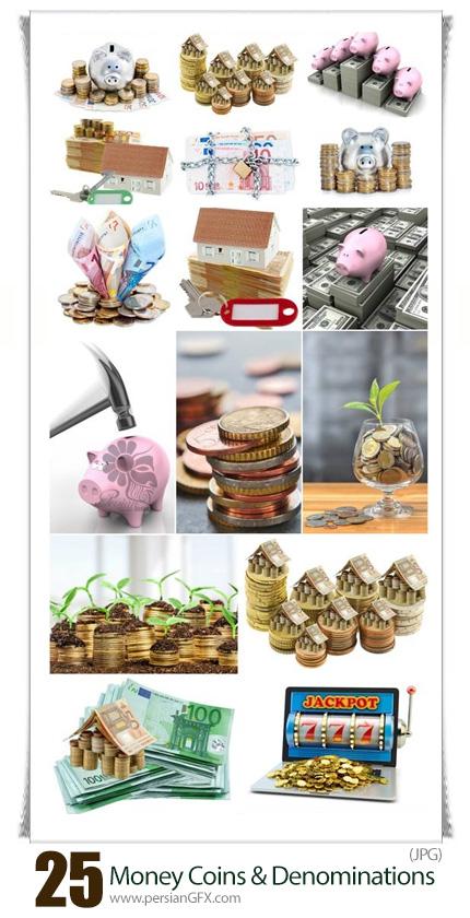 دانلود تصاویر با کیفیت پول، سکه، ارز، بانک و قلک - Money Coins And Different Denominations
