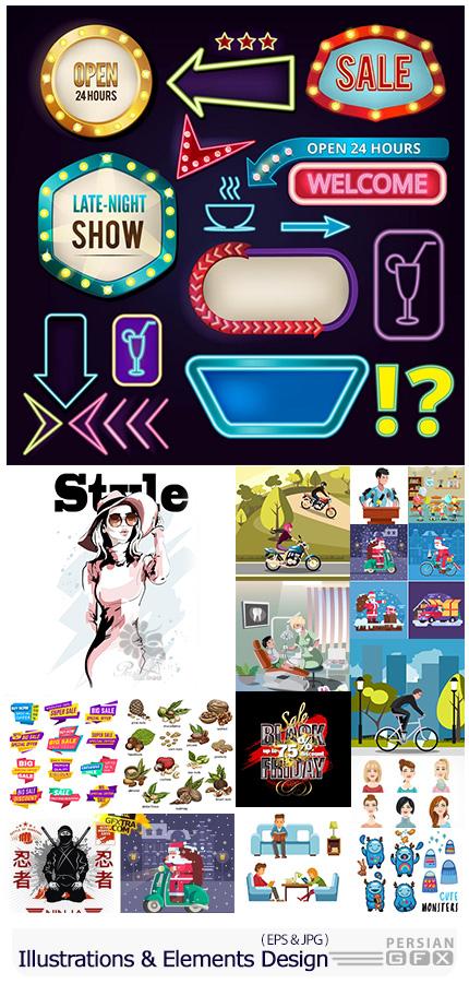 دانلود مجموعه طرح های آماده و عناصر طراحی وکتور متنوع - Modern Big Collection Illustrations And Elements Design 07
