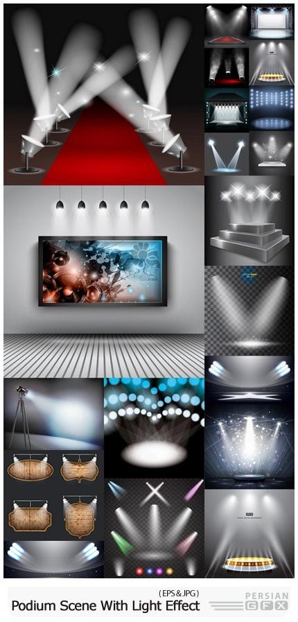 دانلود وکتور صحنه های آماده با نوپردازی متنوع - Podium Scene With Light Effect Decoration Lights Searchlight