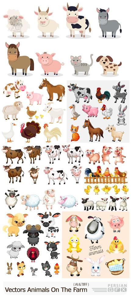 دانلود وکتور حیوانات مزرعه شامل اسب، گاو، گوسفند، خوک، مرغ، خروس و ... - Vectors Animals On The Farm