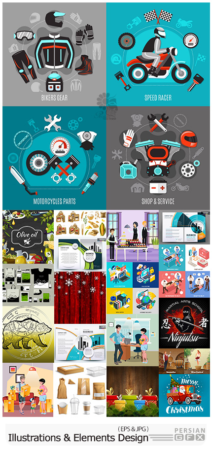 دانلود مجموعه طرح های آماده و عناصر طراحی وکتور متنوع - Modern Big Collection Illustrations And Elements Design 08