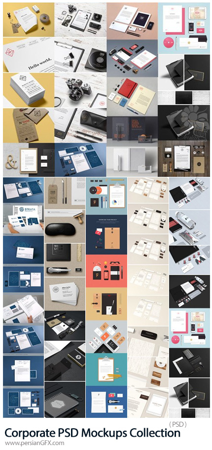 دانلود مجموعه موکاپ ست اداری شامل کارت ویزیت، سربرگ، لیبل، پاکت نامه و ... - Corporate PSD Mockups Collection