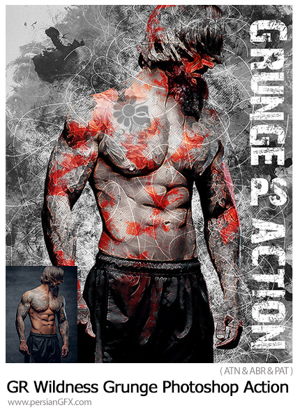 دانلود اکشن فتوشاپ ساخت تصاویر گرانج با افکت جنگی به همراه آموزش ویدئویی از گرافیک ریور - GraphicRiver Wildness Grunge Photoshop Action