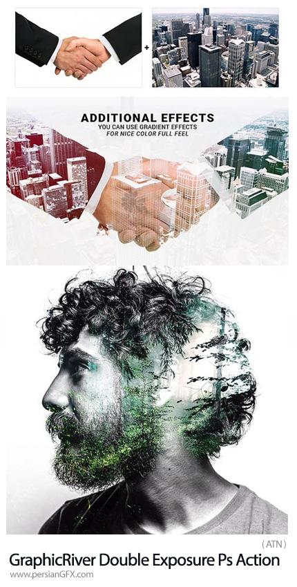دانلود اکشن فتوشاپ ایجاد افکت دابل اکسپوژر یا ترکیب تصاویر به همراه آموزش ویدئویی از گرافیک ریور - GraphicRiver Double Exposure Photoshop Action