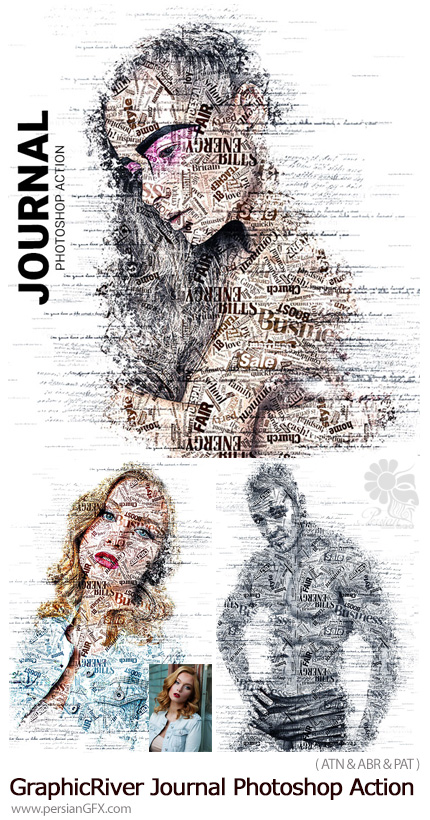 دانلود اکشن فتوشاپ ایجاد تایپوگرافی انگلیسی بر روی تصایر به همراه آموزش ویدئویی از گرافیک ریور - GraphicRiver Journal Photoshop Action