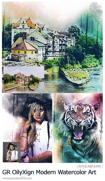 دانلود اکشن فتوشاپ تبدیل تصاویر به نقاشی هنری آبرنگی از گرافیک ریور - GraphicRiver OilyXign Modern Watercolor Art