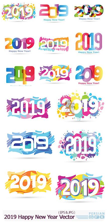 دانلود وکتور قالب 2019 برای طراحی پوستر تبریک سال نو - 2019 Happy New Year Vector Poster Design Template