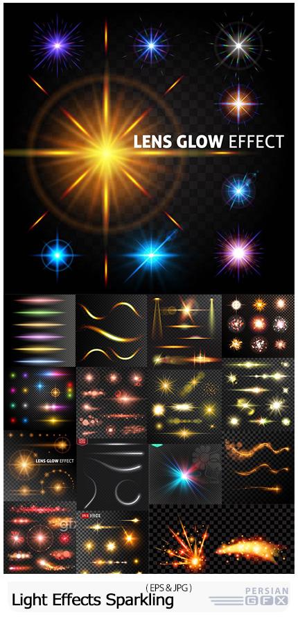 دانلود وکتور افکت نورانی و جرقه های درخشان با بک گراند تیره - Light Effects Sparkling Elements Dark Background