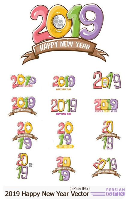 دانلود وکتور قالب 2019 برای طراحی پوستر و کارت پستال تبریک سال نو - 2019 Happy New Year Poster Or Card Design Template