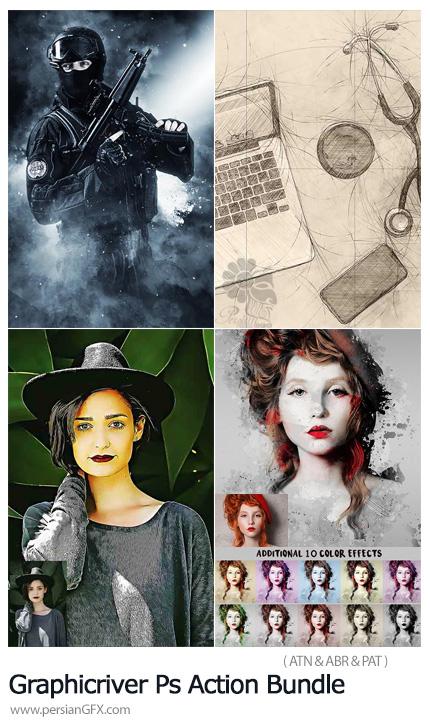 دانلود مجموعه اکشن فتوشاپ با 4 افکت متنوع از گرافیک ریور - Graphicriver Photoshop Action Bundle