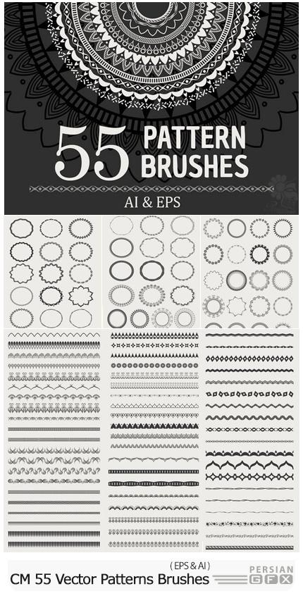 دانلود 55 پترن و براش وکتور قاب و حاشیه های تزئینی گلدار - CM 55 Vector Patterns Brushes