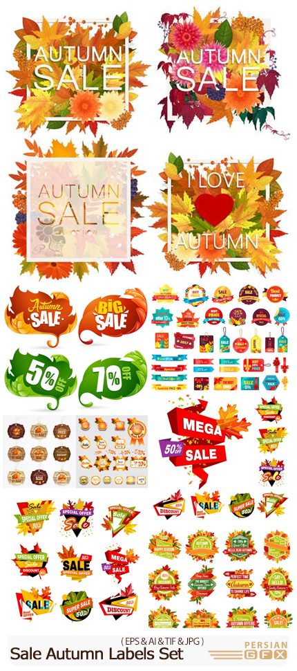 دانلود وکتور لیبل های تخفیف پاییزی - Vectors Sale Autumn Labels Set