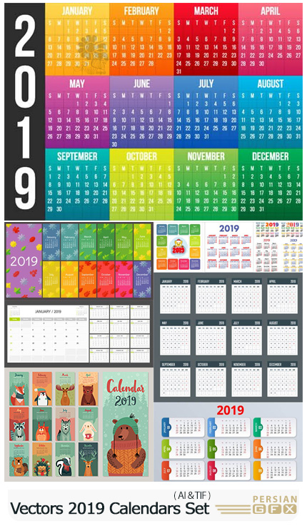 دانلود وکتور تقویم های کارتونی رومیزی و دیواری 2019 - Vectors Cartoon 2019 Calendars Set